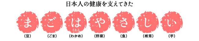 日本人の健康を支えてきた「ま:豆」「ご:ごま」「は(わ):わかめ」「や:野菜」「さ:魚」「し:椎茸」「い:芋」